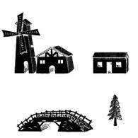 Windmill / mountain chalet / bridge/ pine